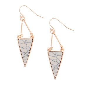 Gold-tone Marbled Geometric Drop Earrings,