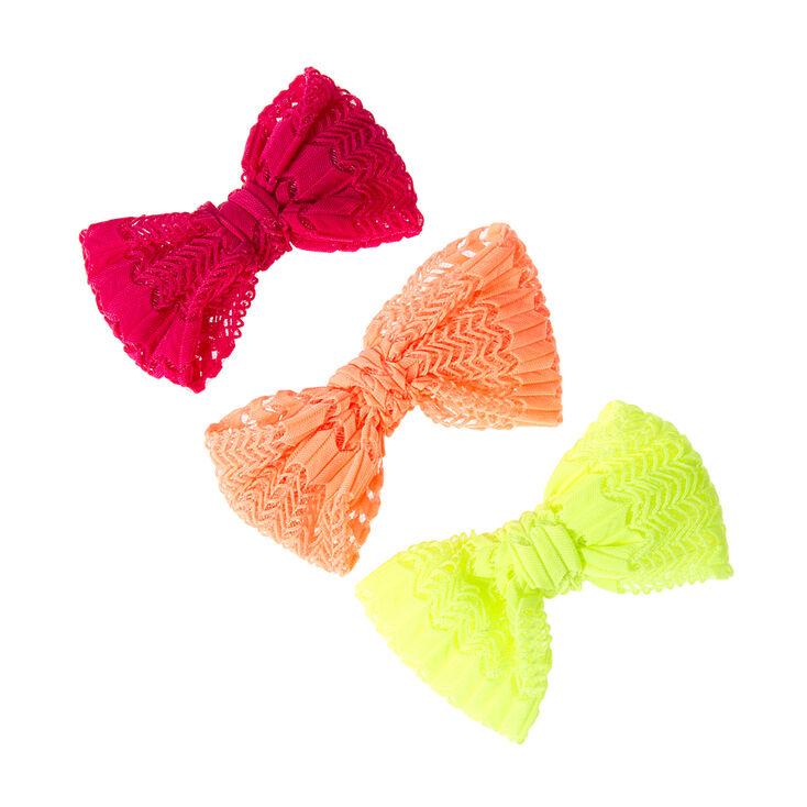 Mini Neon Open Chevron Knit Bow Hair Clips Set of 3,