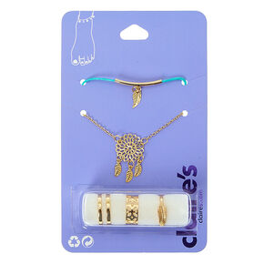 Gold Toned Dreamcatcher Anklet and Toe Ring Set,