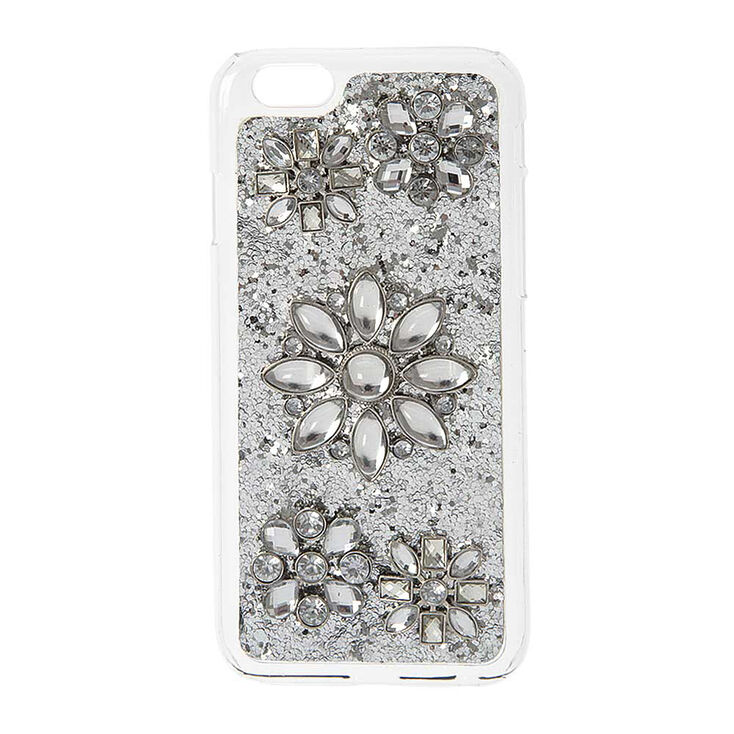 Silver Glitter and Flowers Phone Case,