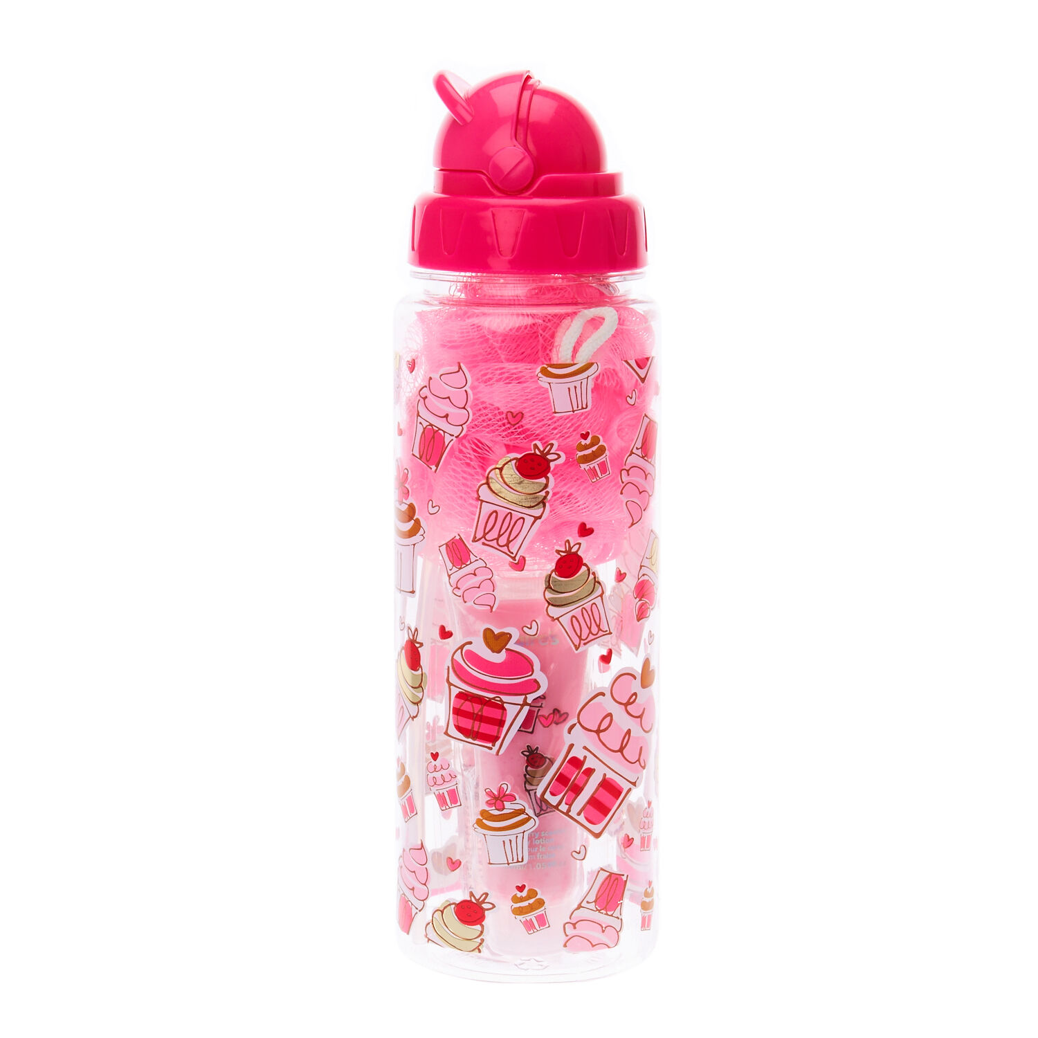 Pink Cup Cake Water Bottle Gift Set   Claire's