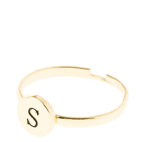 Gold Circle S Initial Letter Ring,