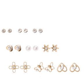 Gold-tone Dainty Motif Stud Earrings,