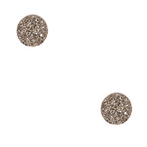 Crystalized Iridescent Gray Sterling Silver Stud Earrings,