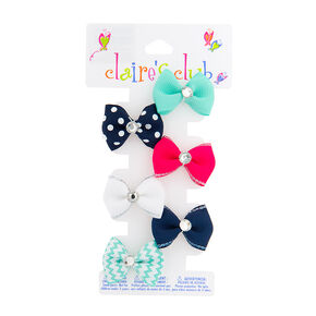 Kids Nautical Mini Hair Bow Set of 6,