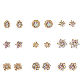 Gold-tone and Aurora Borealis Crystal Stud Earrings Set,