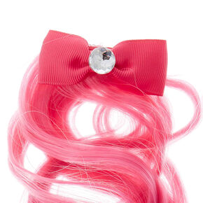 Kids Mini Bow Hair Clip with Ombre Faux Hair,