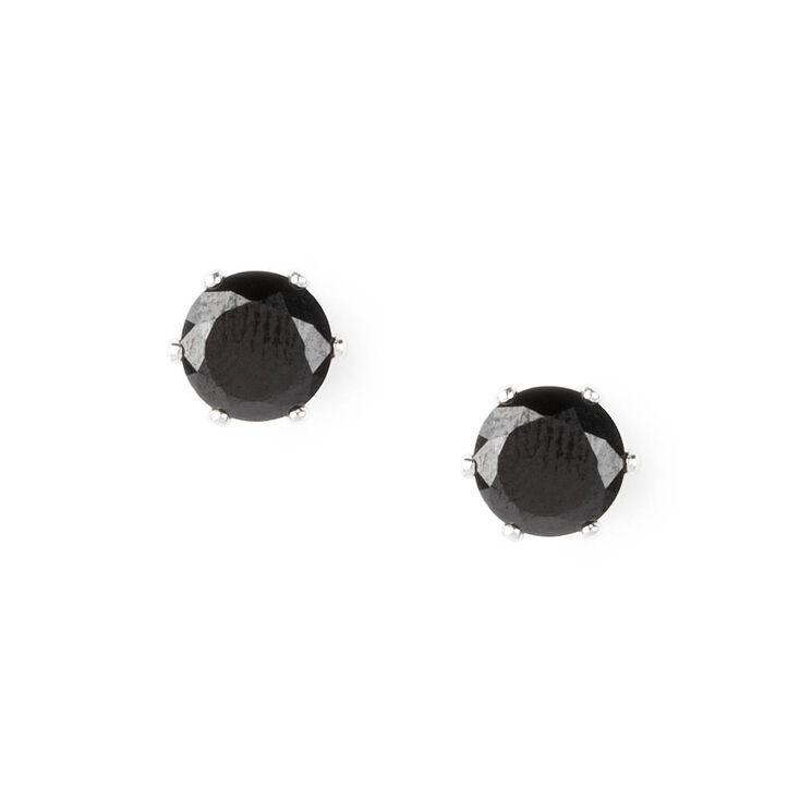 8MM Jet Black Cubic Zirconia Stud Earrings,