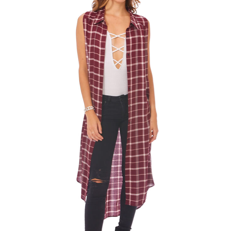 Burgundy Plaid Kimono,