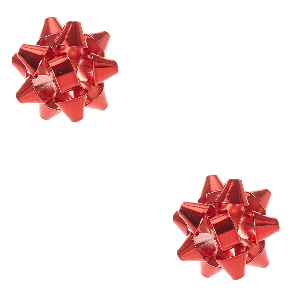 Foiled Red Christmas Bow Stud Earrings | Claire's US