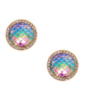 Iridescent Mermaid Scales Oversized Stud Earrings,