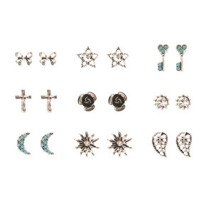 Turquoise and Antique Silver Festival Earring Set,