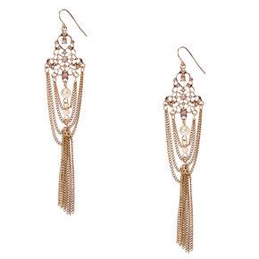 Gold-Tone Vintage Filigree and Tassel Drop Earrings,