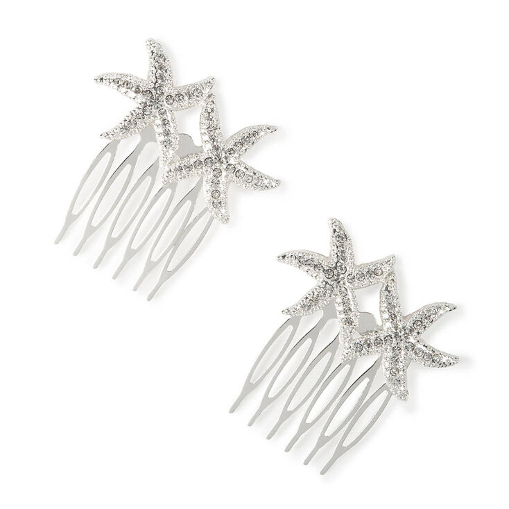 Silver and Crystal Starfish Hair Combs Set of 2,