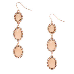 Rose Gold-tone Framed Peach Pillowed Oval Beads Linear Drop Earrings,