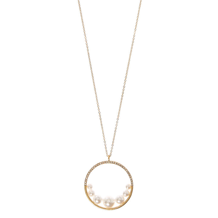 Faux Pearl and Crystal Circle Pendant Necklace,