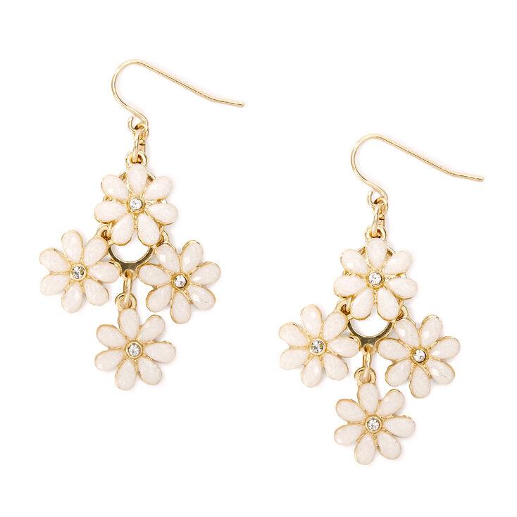 Small Cascading Ivory Glitter Stone Flowers Drop Earrings,