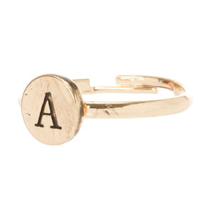 Gold Circle A Initial Ring,