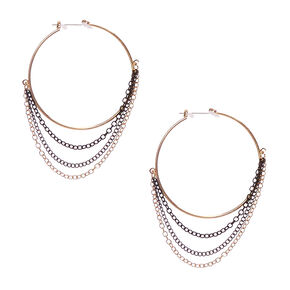 Black and Gold Chain Fringe Hoop Earrings,