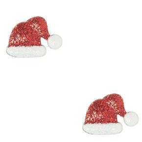 Christmas Glitter Santa Hat Stud Earrings,
