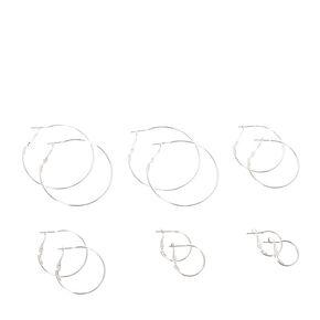 Graduated Silver Hoop Earring Set,