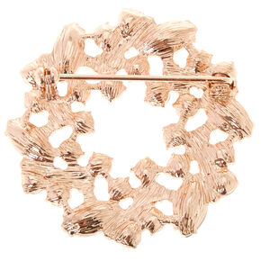 Gold-tone and Faux Crystal Wreath Brooch Pin,