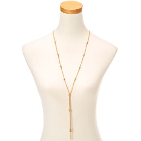 Long Gold Toned Knot Necklace,