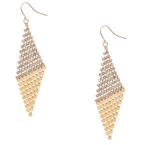 Gold-tone Slanted Crystal Mesh Diamond Drop Earrings,