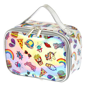 Retro Holographic Rainbow Train Cosmetics Case,