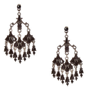 Victorian Black Crystal Drop Earrings,