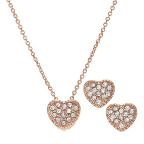 Rose Gold Crystal Heart Necklace and Earrings Set,