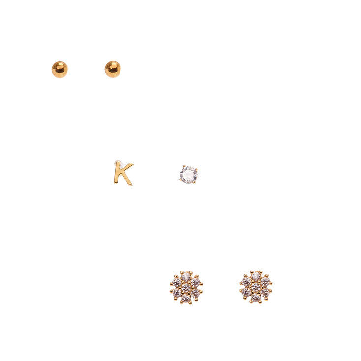 18k Gold Plated K Initial Stud Earring Set,