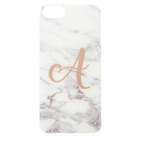Marbled A Initial Phone Case,