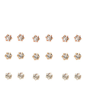 Mixed Metal Framed 3MM Clear Crystal Stud Earrings,