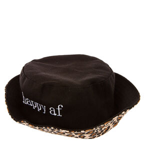 Happy AF Black Bucket Hat with Leopard Print Lining,