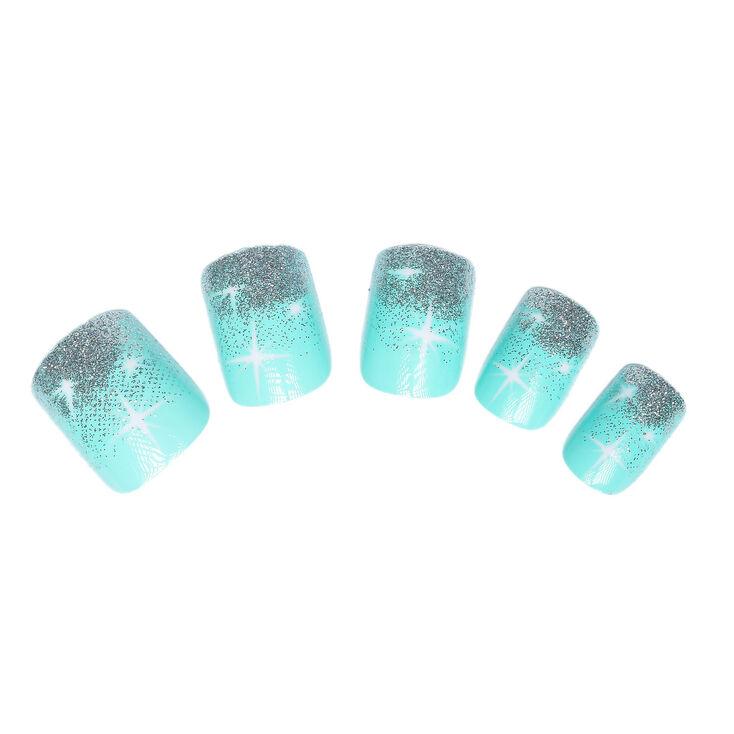 lot de 24 faux ongles paillet s couleur menthe claire 39 s fr. Black Bedroom Furniture Sets. Home Design Ideas