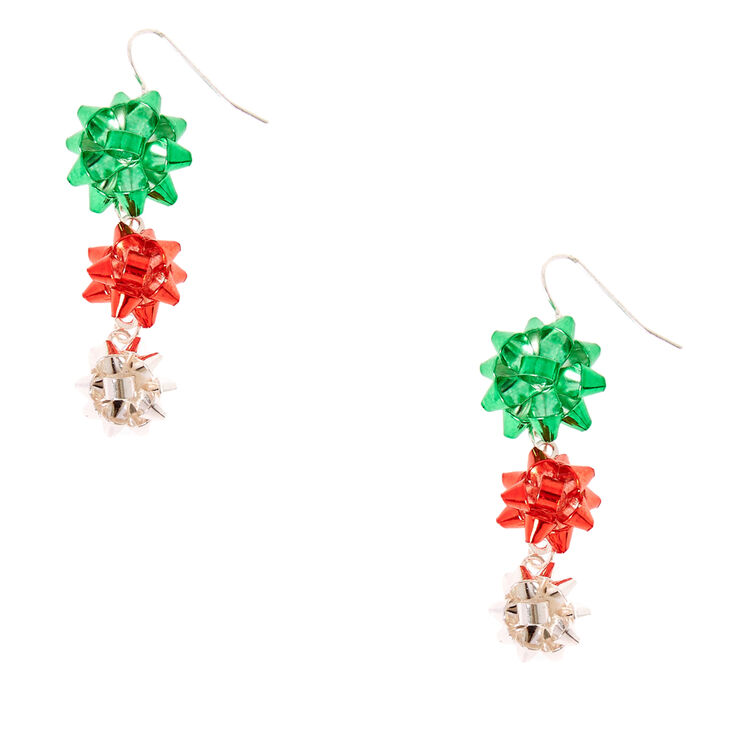 Red, Green & Silver Foiled Christmas Bow Drop Earrings,