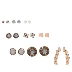Burnished Gold-tone Pastel Glass Stone Stud Earrings,