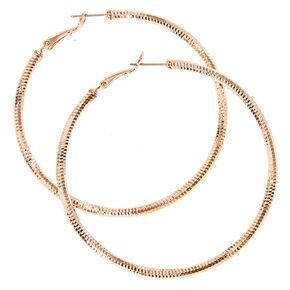 Rose Gold-tone Laser Cut Hoop Earrings,
