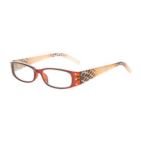 Snakeskin Texture Amber Rectangle Eyewear with Crystals,