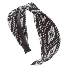 Black and White Print Cinched Headband,