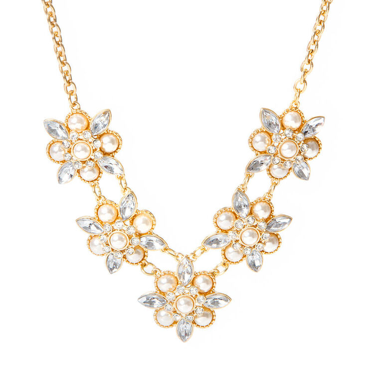 Avery Pearl and Crystal Flowers Statement Necklace,