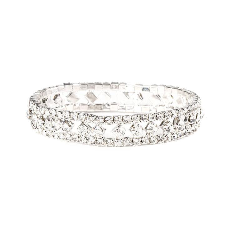 Rhinestone Diamonds and Chains Stretch Bracelet,