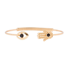 Gold Evil Eye and Hamsa Hand Open Cuff Bracelet,
