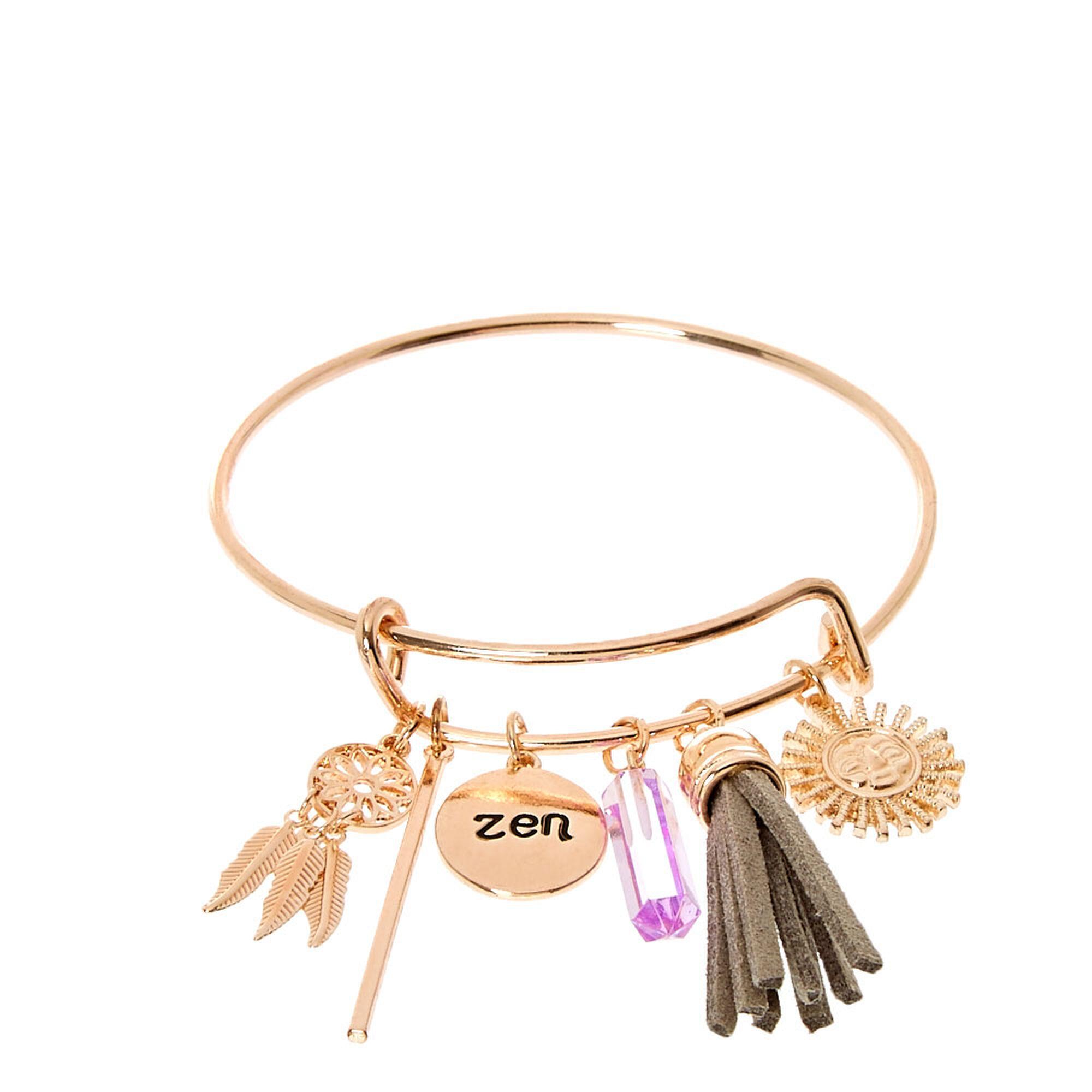 Gold Tone Zen Bangle Charm Bracelet