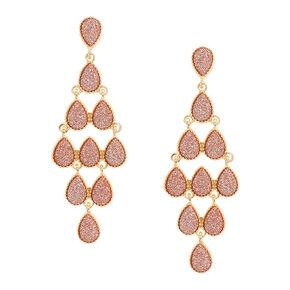 Rose Gold-tone  Glitter Teardrop Chandelier Drop Earrings,