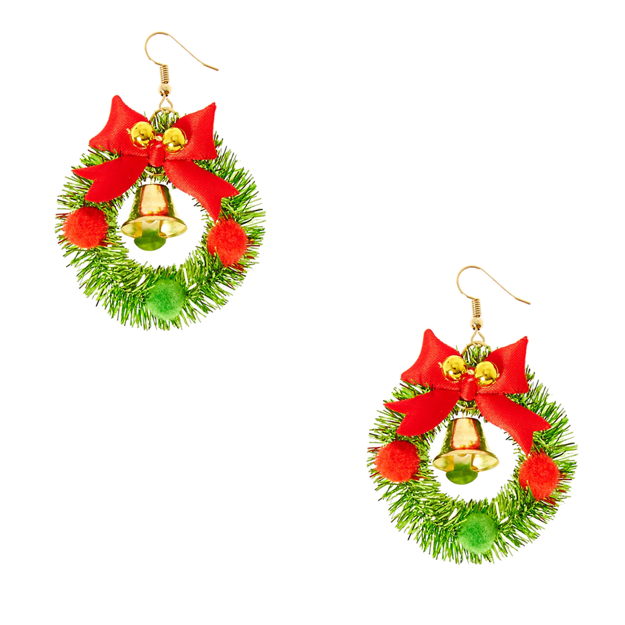 holiday wreath jingle bell drop earrings claire u0027s us