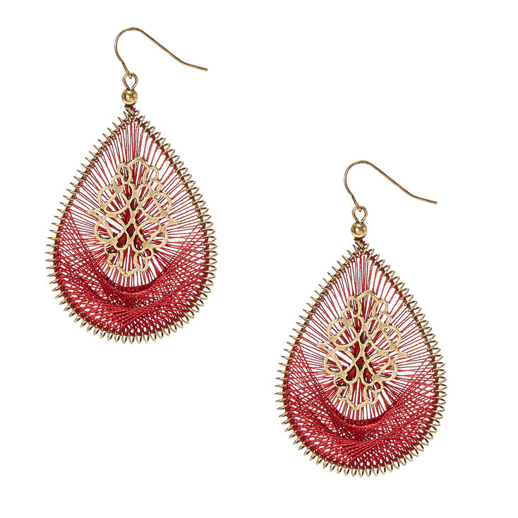 Burgundy Threaded Gold-tone Open Teardrop Drop Earrings,