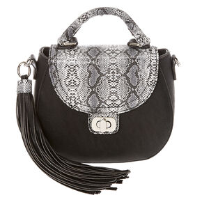 Faux Leather Black & Snake Skin Mini Tote Saddle Bag,