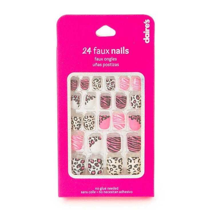 faux ongles rose n on motif animal claire 39 s fr. Black Bedroom Furniture Sets. Home Design Ideas
